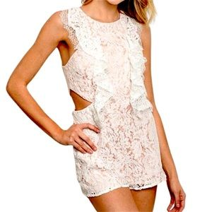 Do + Be Floral Lace Overlay Cutout Sides Romper